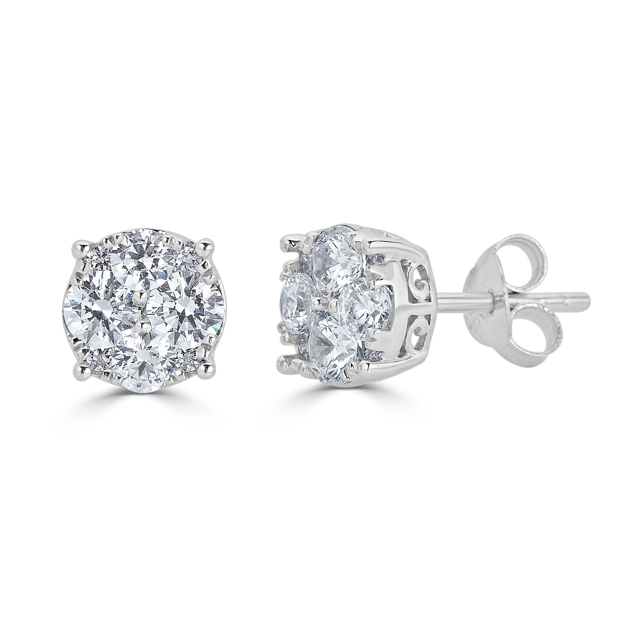1.00Ct Natural Diamond Stud Earrings Set in Sterling Silver