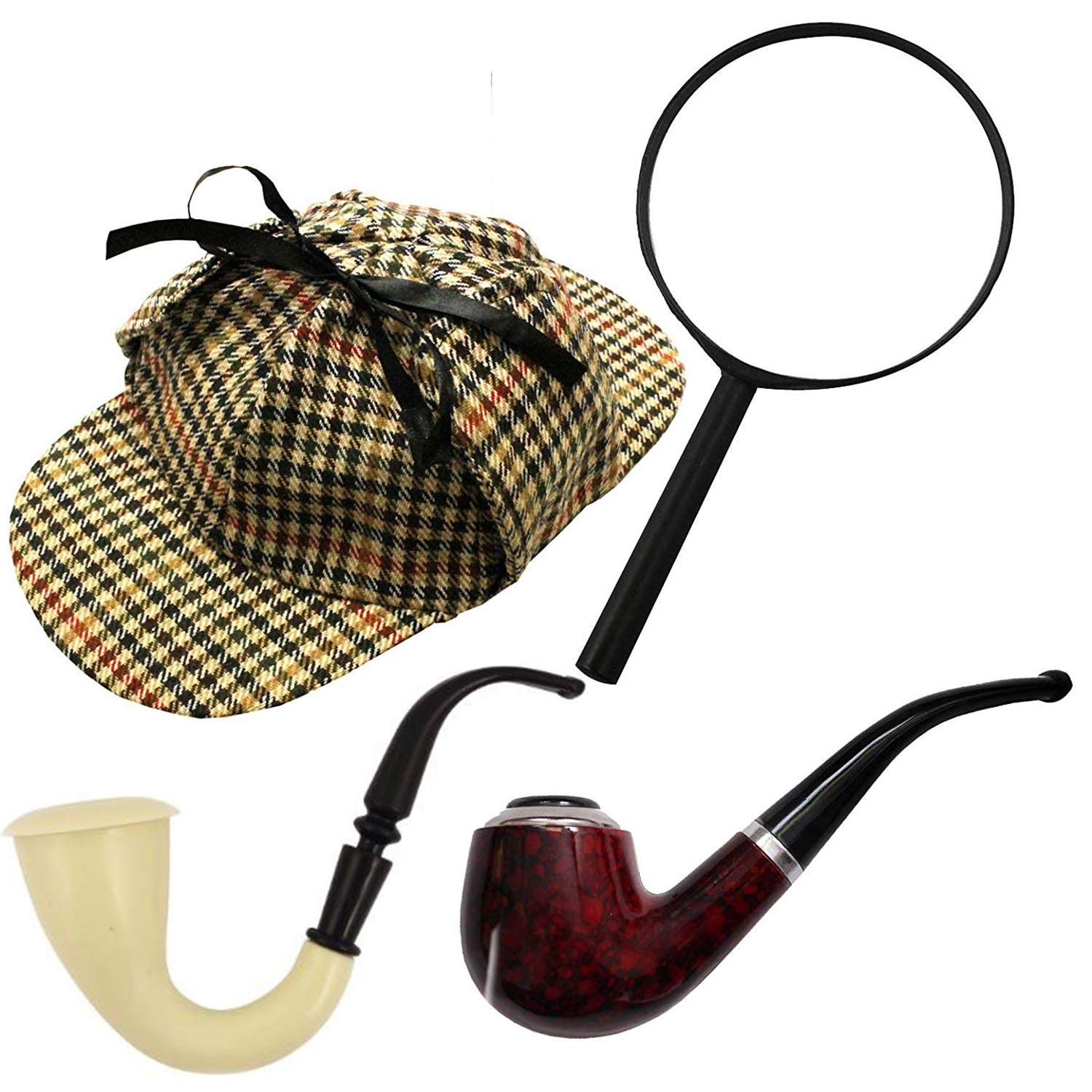 Sherlock Holmes Kit Victorian Detective Magnifying Glass /& Pipe Fancy Dress