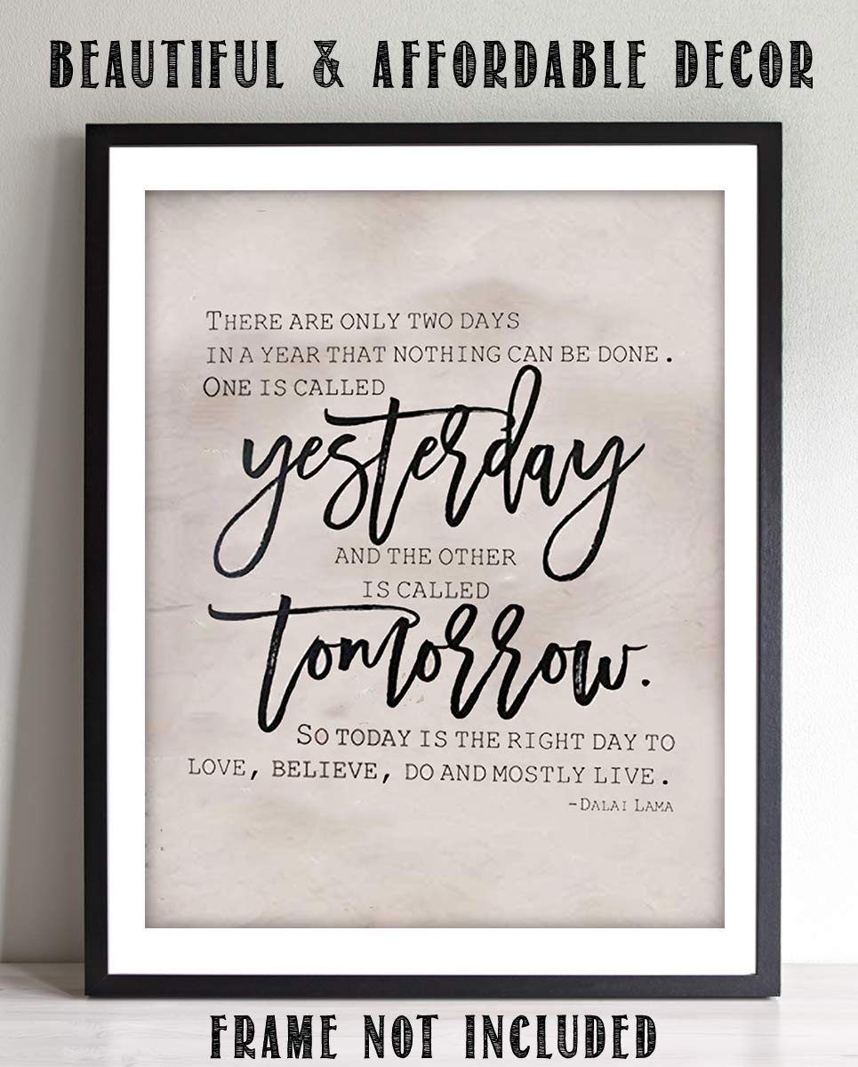 "Amazon com: Dalai Lama Quotes- Wall Art ""Yesterday & Tomorrow""- 8 x"