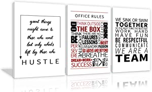 Large Inspirational Office Wall Art 3 Panels Office Poster Prints Positive Affirmation Teamwork Quote Motivational Wall Art Hustle Office Rules Wall Decor for Office Decorations Framed Ready to Hang