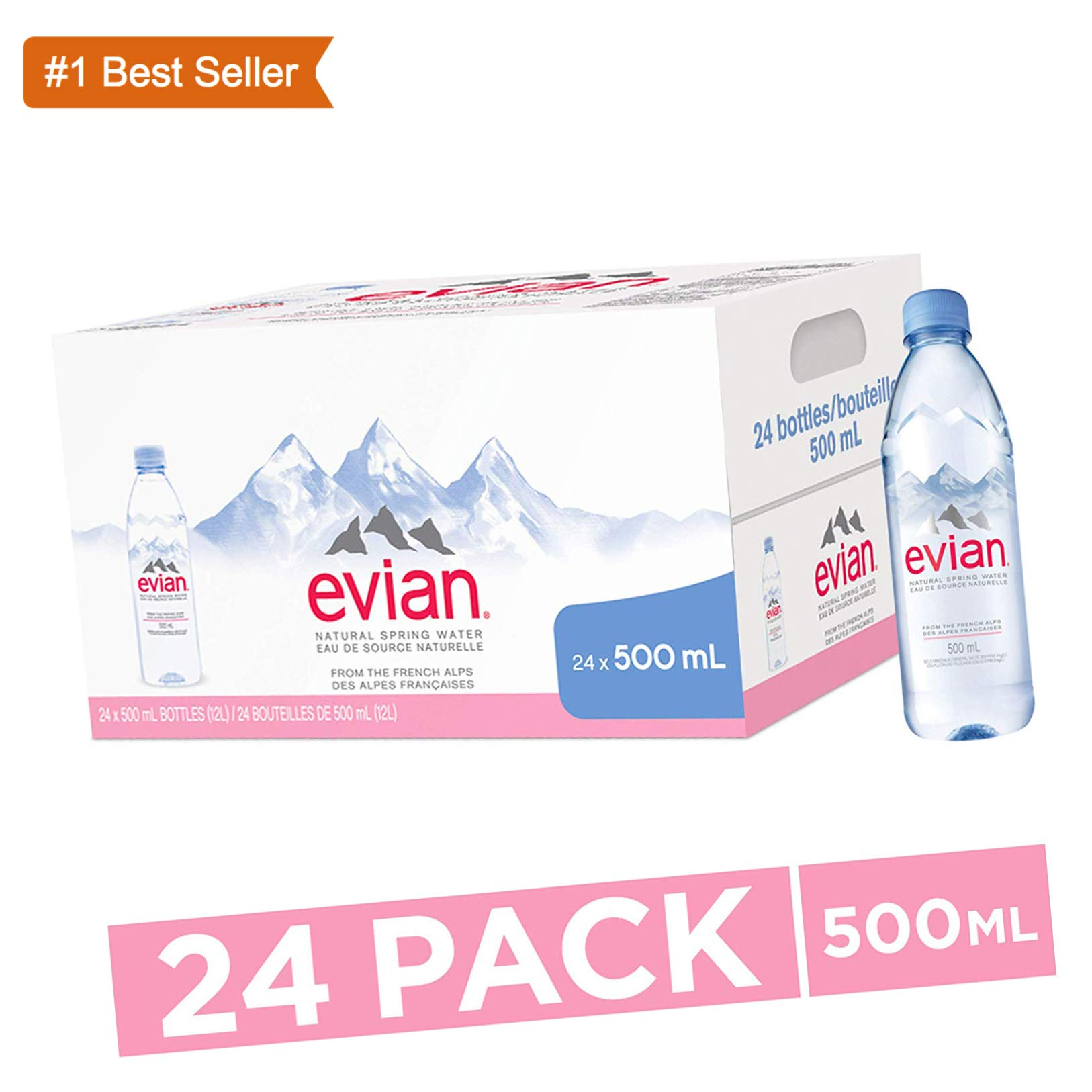 evian Natural Spring Water One Case of 24 Individual 500 ml (16.9 Fl. Oz.)