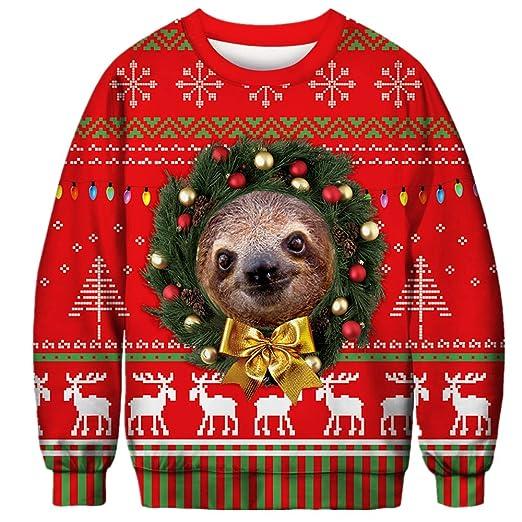 Morbuy Unisexo Sudaderas Navidad Hombre, Mujer 3D Impresas Otoño e Invierno Sin Sudadera con Capucha Larga Animal Sweater Pullover: Amazon.es: Ropa y ...