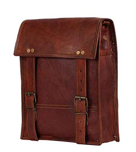 87ab75176e34 AOL 10x13 Inch Leather Vintage Crossbody Messenger Courier Satchel Bag Gift  Men Women ~ Business Work Briefcase Laptop Carry IPad Book