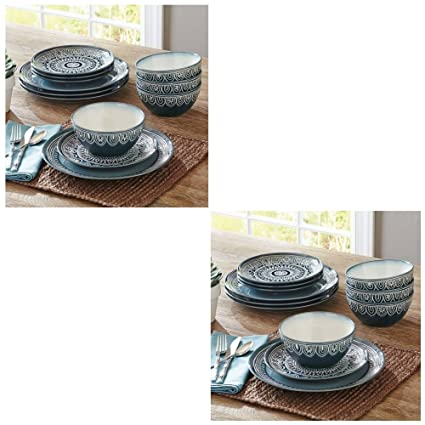 Better Homes and Gardens Teal Medallion 12-Piece Dinnerware Set Teal (2 Pack  sc 1 st  Amazon.com & Amazon.com | Better Homes and Gardens Teal Medallion 12-Piece ...