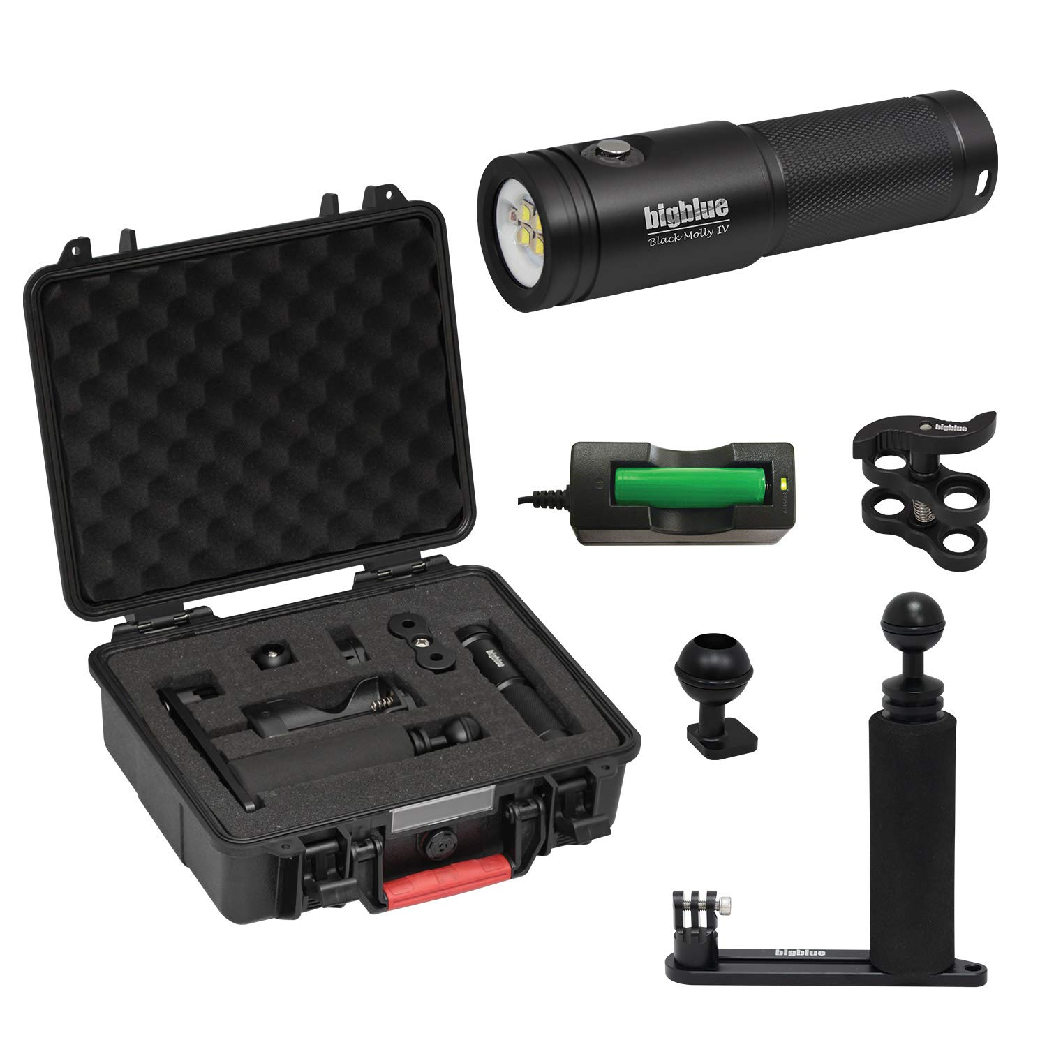 BigBlue AL1800XWP-II 1800 Lumen Tri-Color Dive Video Light (Black with Case and Single Arm Tray)