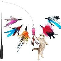GingerUP Katzenspielzeug Interaktives Spielzeug mit Federn, Katze Spielzeug mit 6 Katzenangel Ersatzfedern