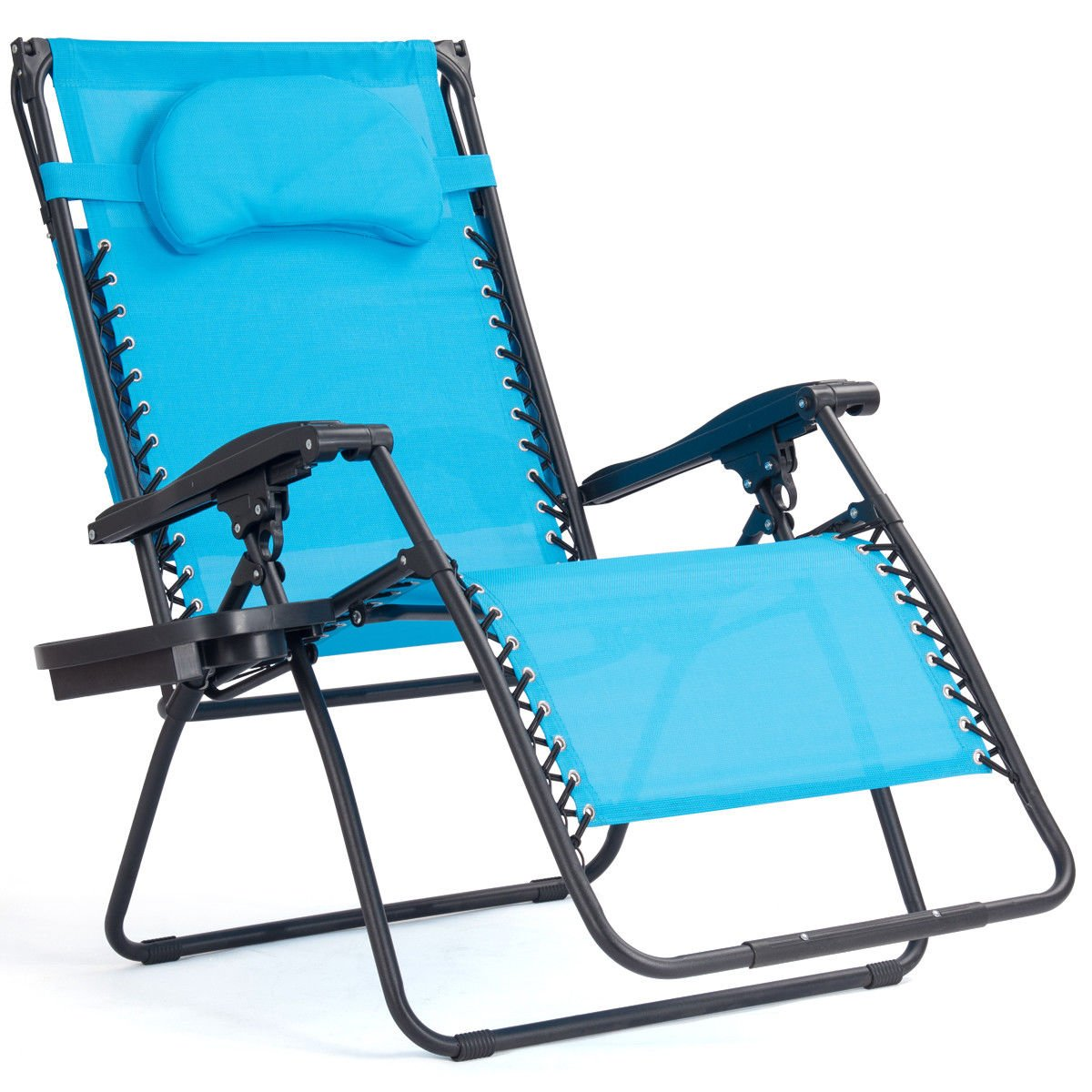 14th Mobility Folding Recliner Lounge Chair in Blue Cup Holder, Made Steel Frame, Sun Shade Canopy, Lightweight Easy Transporting, Sturdy Durable + Expert Guide