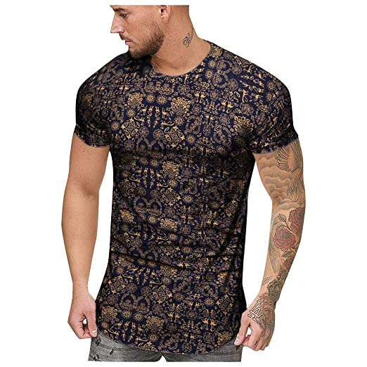 d911b73e5a MmNote mens clothes clearance sale, Fashion Mens Summer Slim Casual African  Print O-Neck Fit Short Sleeve Top Blouse at Amazon Men's Clothing store: