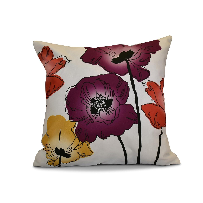 E by design PFN736PU18-18 18 x 18-inch, Poppies, Floral Print Pillow, Purple 18x18,