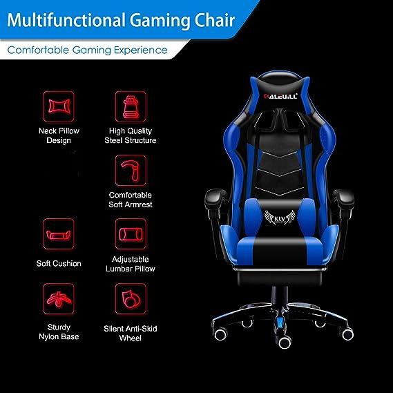 Amazon.com: MOOSENG Video Gaming Chair Racing Office - PU Leather High Back Ergonomic 155 Degree Adjustable Swivel Executive Computer Desk Task Large Size ...
