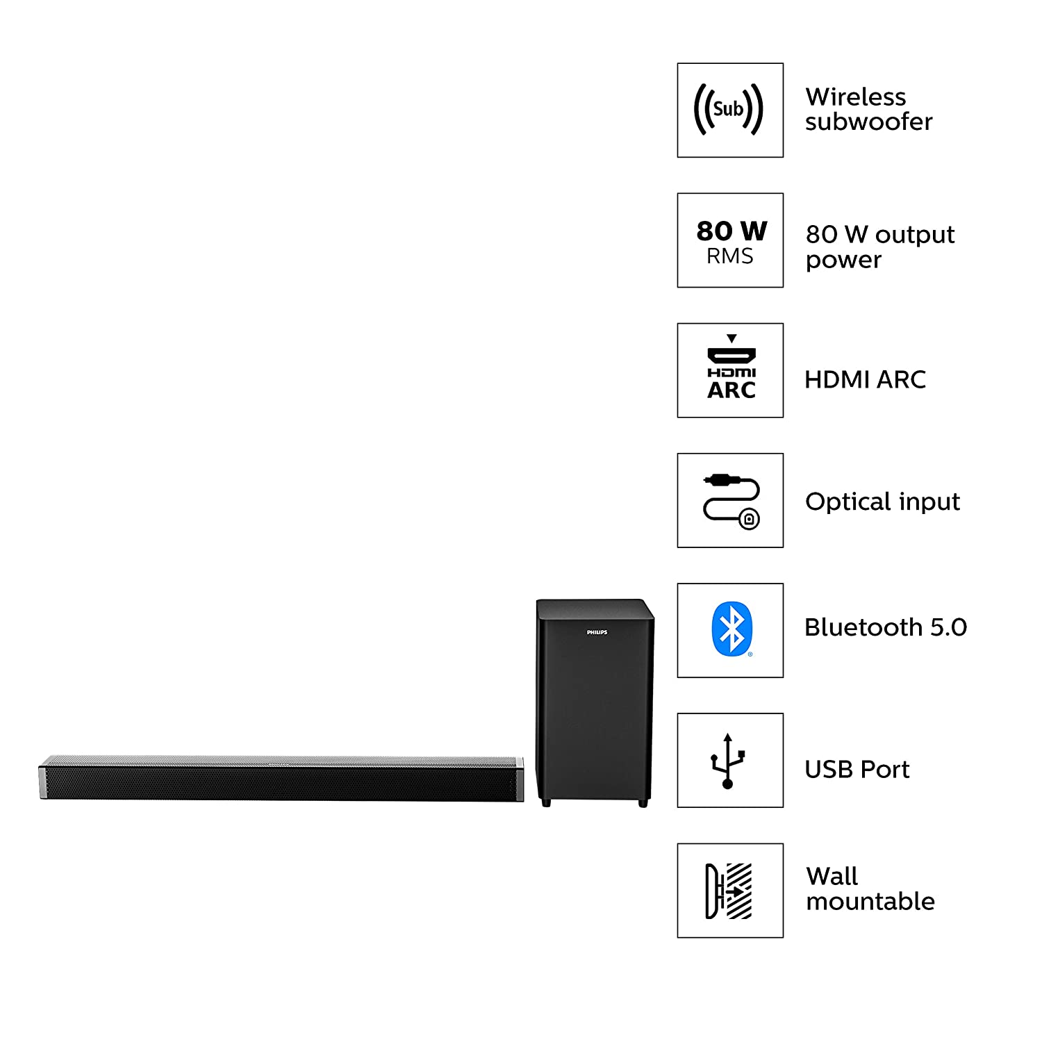 Philips 4000 Series HTL4080 80W Bluetooth Soundbar with Wireless Subwoofer, HDMi ARC, Bluetooth 5.0,Optical in and USB