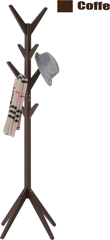 Wooden Coat Rack Hat Hanger Hooks Hall Entryway Jacket Umbrella Tree-Standing US