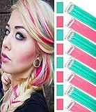 colorido piezas de cabello Clip en extensión de cabello de color princesa disfraces peluca para niñas/muñecas