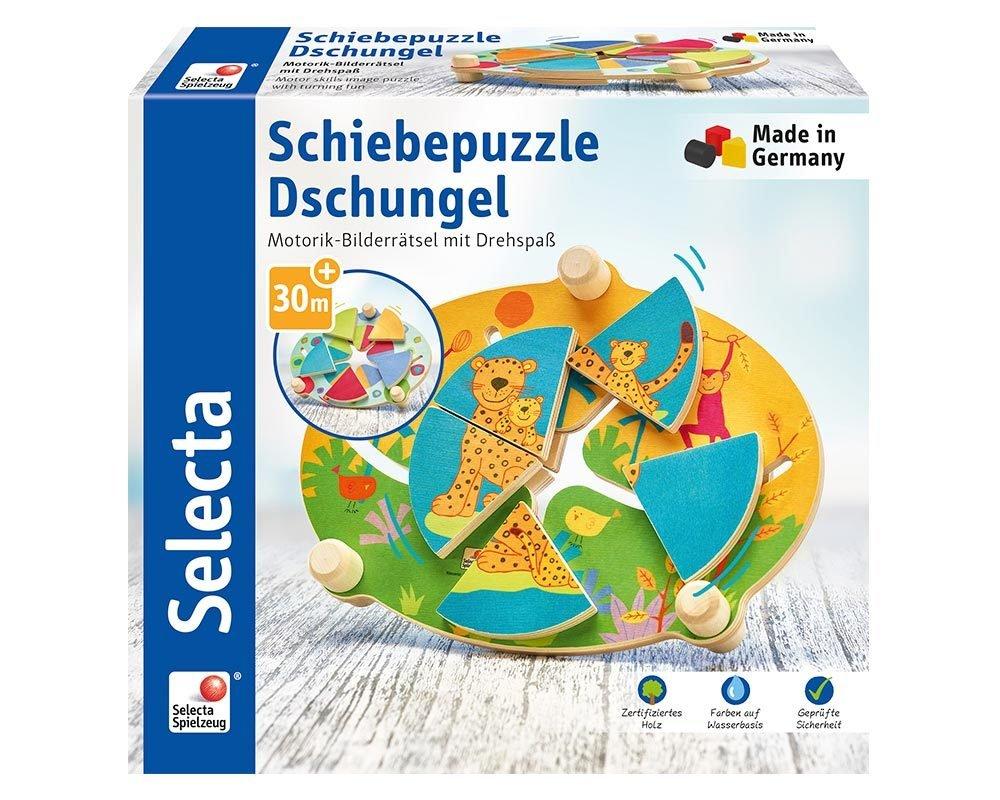 Selecta 62062 Schiebepuzzle Dschungel, Motorikspielzeug aus Holz, 24 cm Tiere Wildtiere