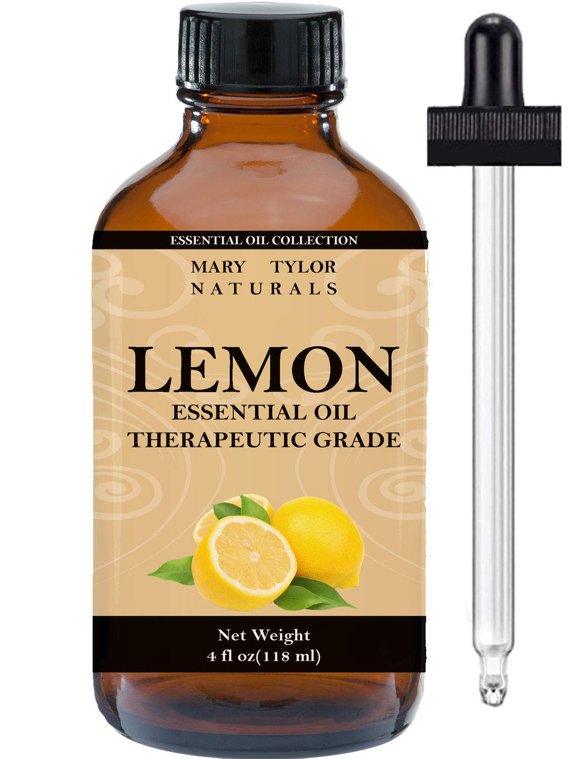 Lemon Essential Oil, Large 4 oz, by Mary Tylor Naturals, 100% Pure Essential Oil, Therapeutic Grade, 100% Pure and Natural, Perfect for Aromatherapy, DIY, Relaxation and Improved Mood