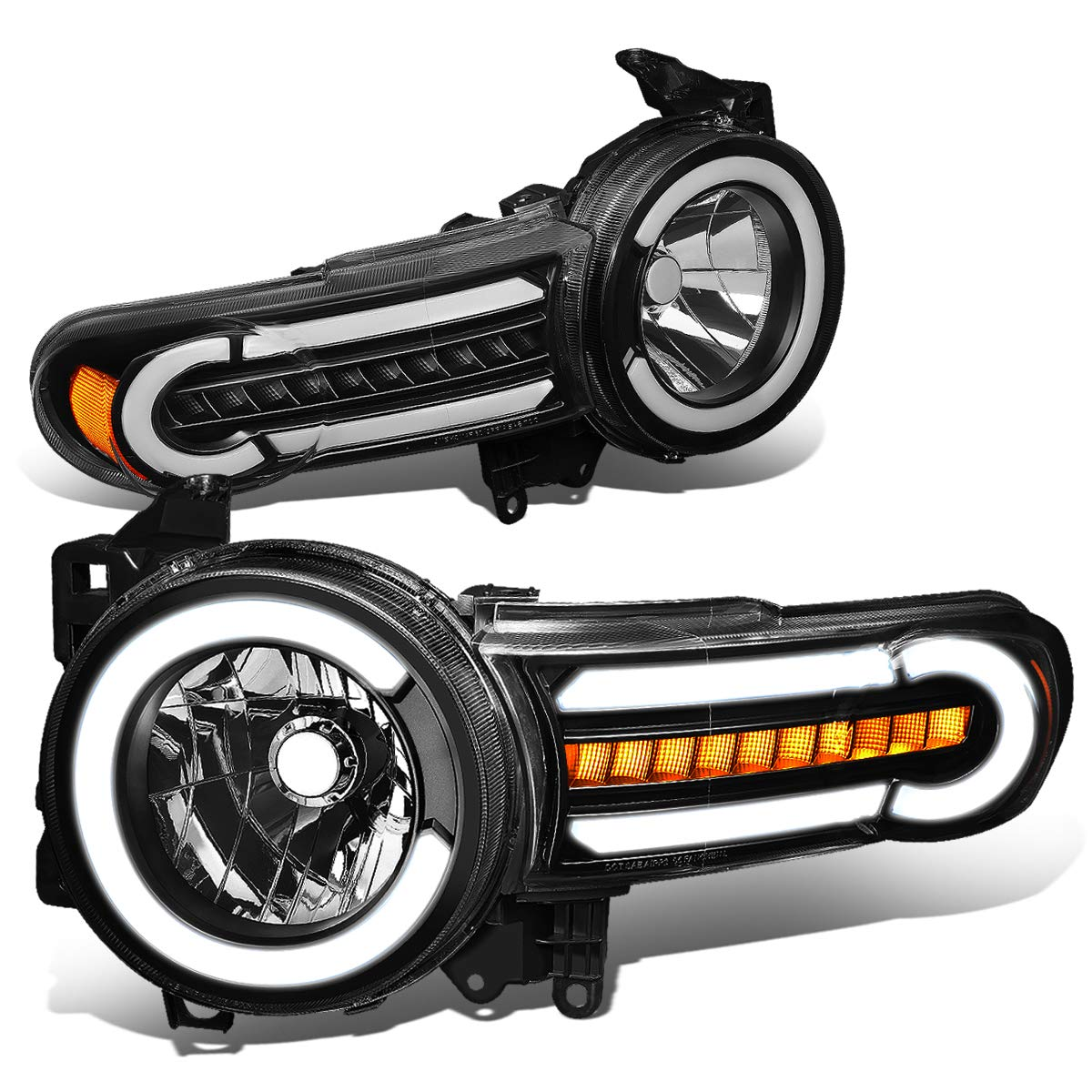 DNA Motoring HL-LB-FJC07-BK-AM Pair LED DRL+Sequential Chasing Turn Signal Headlight Lamps Set
