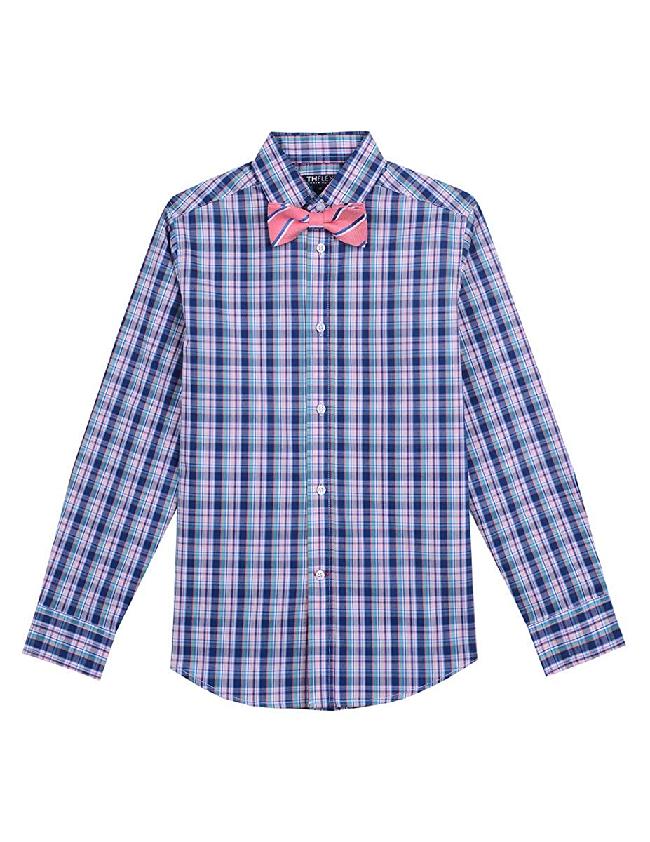 3a90dc44 Amazon.com: Tommy Hilfiger Boys' Long Sleeve Dress Shirt with Bow Tie:  Clothing