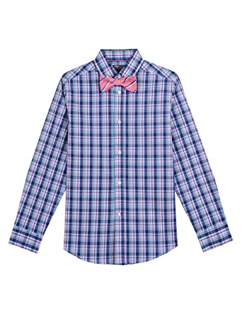 bbd0e8ce5 Tommy Hilfiger Boys' Big Long Sleeve Dress Shirt with Bow Tie, Arcade  Fairytale 8