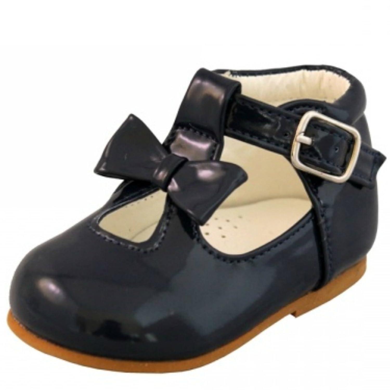 Chaussures pour bébé filles brillantes - Avec nœud décoratif - Style espagnol - Blanc, Noir, Crème, Rose, Rouge - Pour fête de mariage - Antidérapantes - Premières chaussures de marche - 21201 - Rouge - Red, 18 EU Sevva 21201