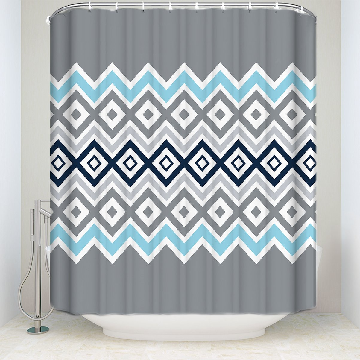 EZON CH Shower Curtains Wave Stripe Geometric Picture Dark Blue Grey Light Print Customize Waterproof Polyester Fabric Home Hotel Apartment Bathroom