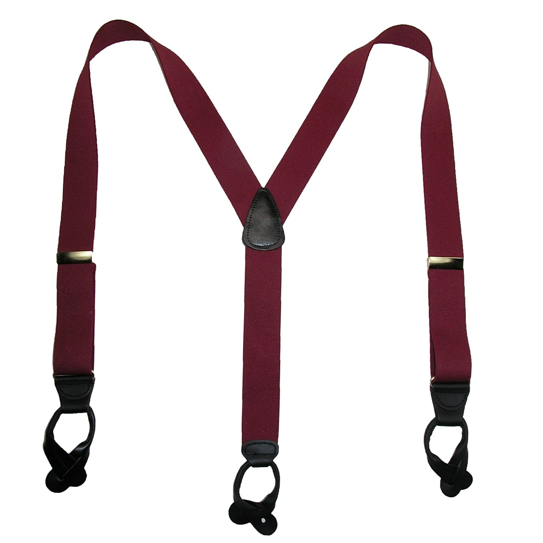 Burgundy SF-PB190BR-TALL-BUR CTM Mens Big /& Tall Elastic Button End Suspenders