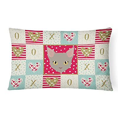 Caroline's Treasures CK5130PW1216 Malayan Cat Love Canvas Fabric Decorative Pillow, 12H x16W, Multicolor : Garden & Outdoor