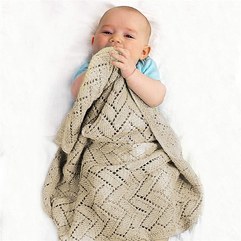 Manta de Punto para Bebé Recién Nacido, Surwin Suave y Cálida Color Sólido Punto de Crochet Cobija Toalla de Cama Niñas Niños Swaddle para Bebe Cuna, Cochecito (Caqui,100x80cm)