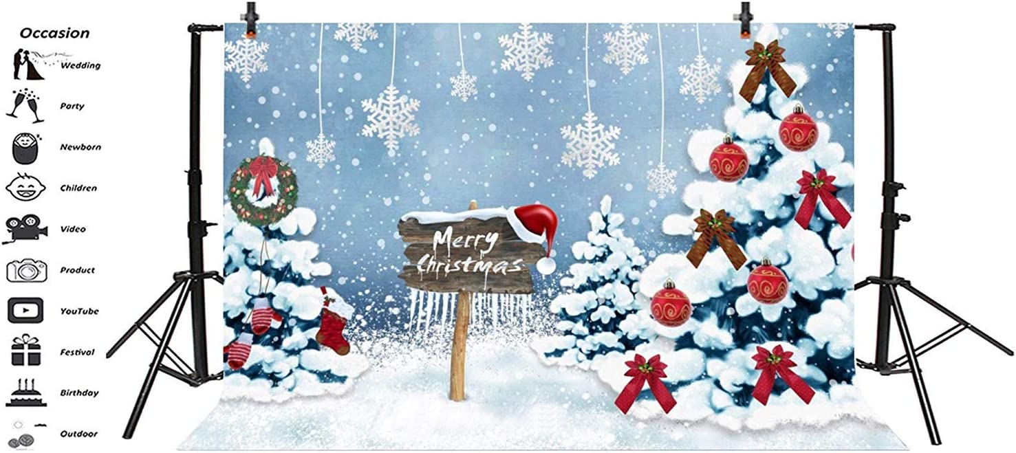 Merry Christmas Backdrop Vinyl 10x7ft Dreamlike Decorated Xmas Trees Pine Wreath Red Balls Hanging Snowflakes Background Xmas Party Banner Child Kids Baby Portrait Shoot Wallpaper