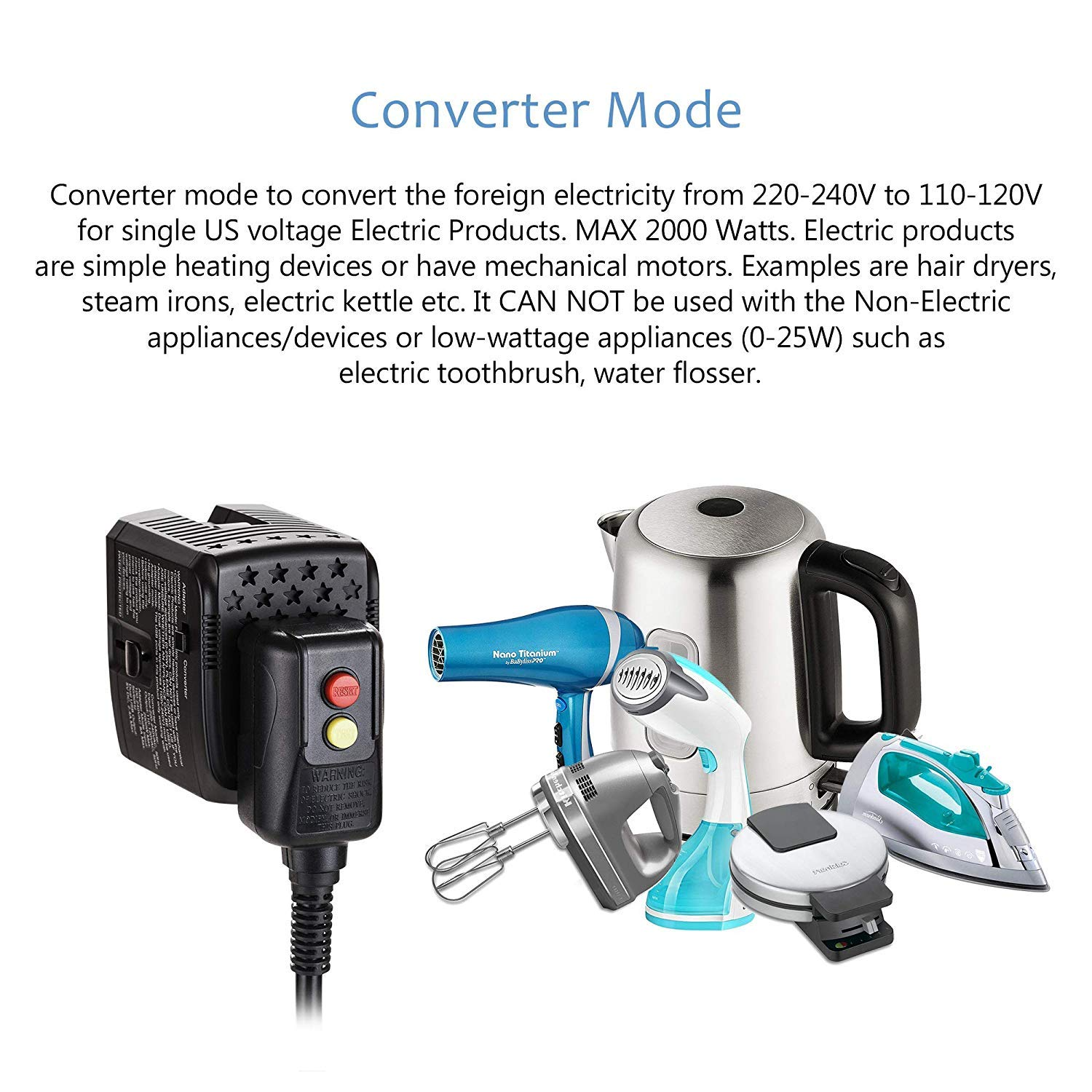 2000W 220V to 110V Power Converter Step Down Voltage for US Electric Products Like Hair Dryer, Steam Iron, Laptop - World Travel Plug Adapter w/2 USB US to Europe, UK, Italy, Asia Over 150 Countries by Bonazza (Image #2)