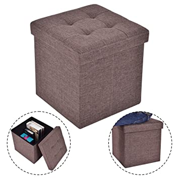 Good COSTWAY Folding Storage Cube Ottoman Seat Stool Box Footrest Furniture  Decor Brown New