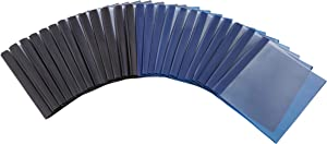 AmazonBasics Letter Size Clear Front Poly Report Cover with Metal Prong - 25-Pack, Assorted Black and Navy
