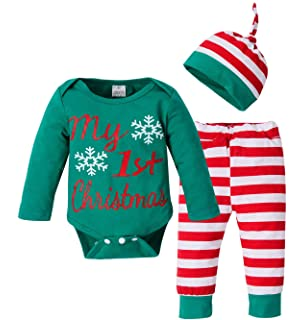 80286420d Infant Baby Boys Girls 3Pcs Christmas Outfit Set My First Christmas Romper  Tops Striped Pants with