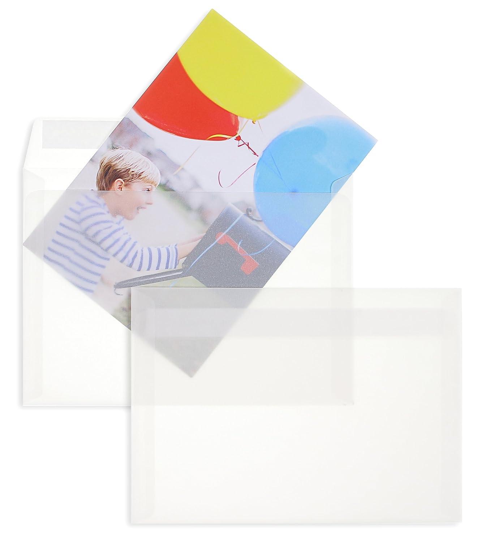 Enveloppes transparentes - Blanc (Transparent blanc)~110 x 220 mm (DL) | 90 g/qm Offset | Sans fenê tre | Fermeture adhé sive | Rabat droit | 25 piè ces Blanke Briefhüllen
