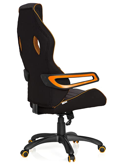 hjh OFFICE RACER PRO III - Silla gaming o de oficina, tejido negro, gris y naranja, tela, reposacabezas