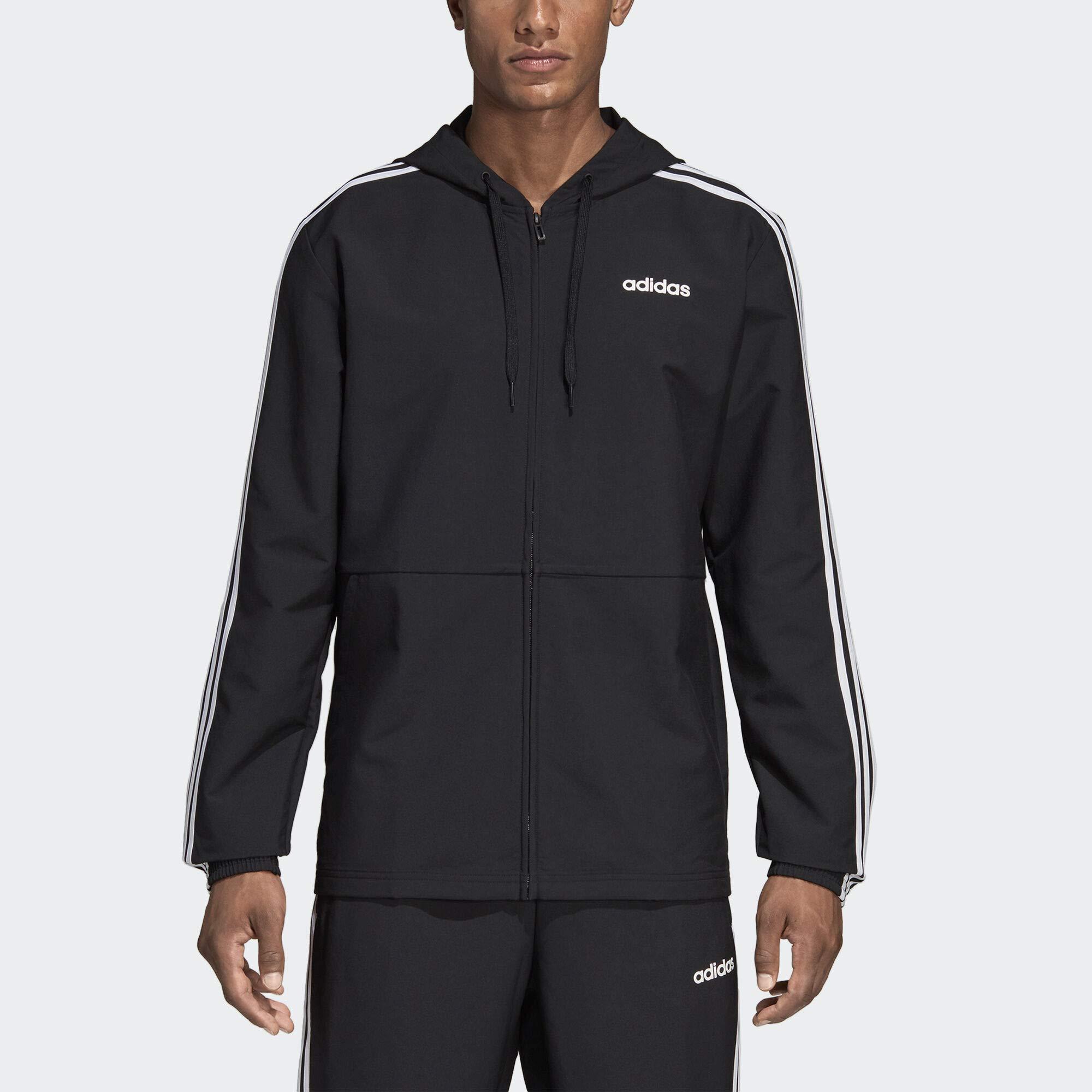 adidas Essentials Men's 3-Stripes Windbreaker, Black/White, Large by adidas