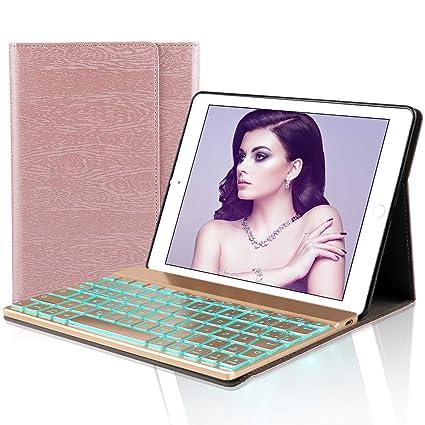 D DINGRICH Tastatur Hülle für iPad 2018 (6th Gen) - iPad 2017 (5th Gen) - iPad Pro 9.7 - iPad Air 2 & 1-7 Farben Hinterleucht