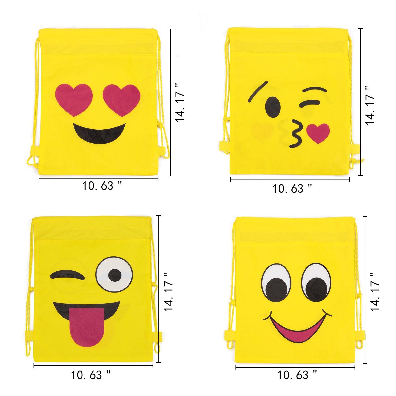 Konsait Emoji Bags for Emoji Party Supplies(12Pack), Emoji Drawstring Backpack Shoulder Bag Bulk Assorted Emoticon Party for Boys Girls Kids Birthday Candy Baby Shower Emoji Party Favors Gift by Konsait (Image #2)
