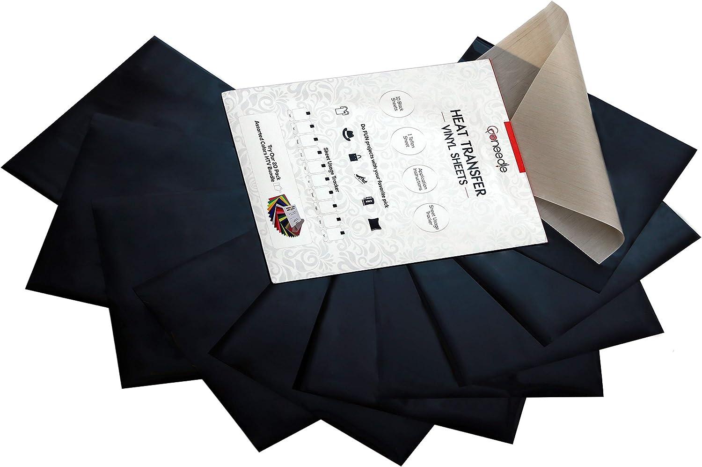 Craft Iron-on Heat Transfer Vinyl Box of 10 Black /& 10 White 20 HTV SHEETS