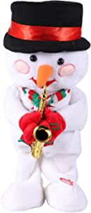 jojofuny Snowman Play Saxophone Singing and Dancing Snowman Electric Musical Dolls Xmas Toy for Kids