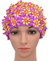 Medifier Bonnet de bain à fleurs avec pétales pour femme Style rétro