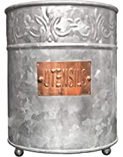 Autumn Alley Farmhouse Galvanized Large Kitchen Utensil Holder | Pretty Embossing and Copper Label add Farmhouse Warmth and Charm |