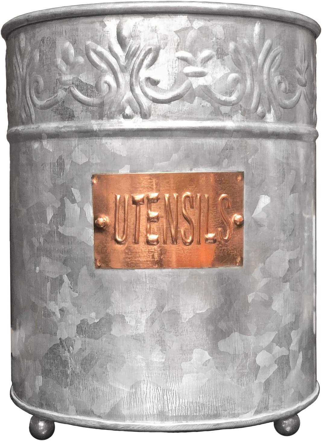 Autumn Alley Galvanized Large Kitchen Utensil Holder | Handmade | Pretty Embossing and Copper Label add Farmhouse Warmth and Charm |