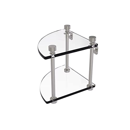 Allied Brass FT-3 Foxtrot Collection Two Tier Corner Glass Shelf, Satin Nickel
