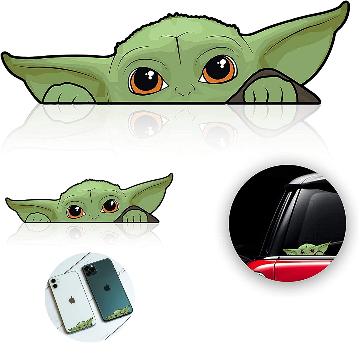 KMDJG 10 Pack Baby Yoda Stickers, 5 Large and 5 Small Stickers for Window, Laptop, Luggage, Skateboard, Bike, Mandalorian, Decal Window Accessories for Car