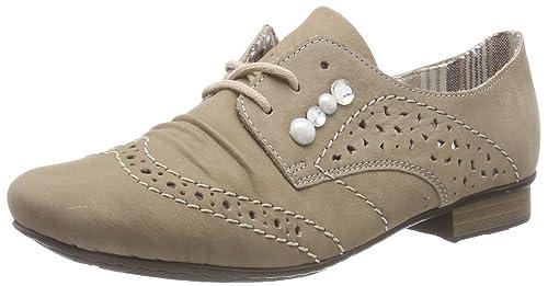 51925, Zapatos de Cordones Derby para Mujer, Beige (Merino), 36 EU Rieker