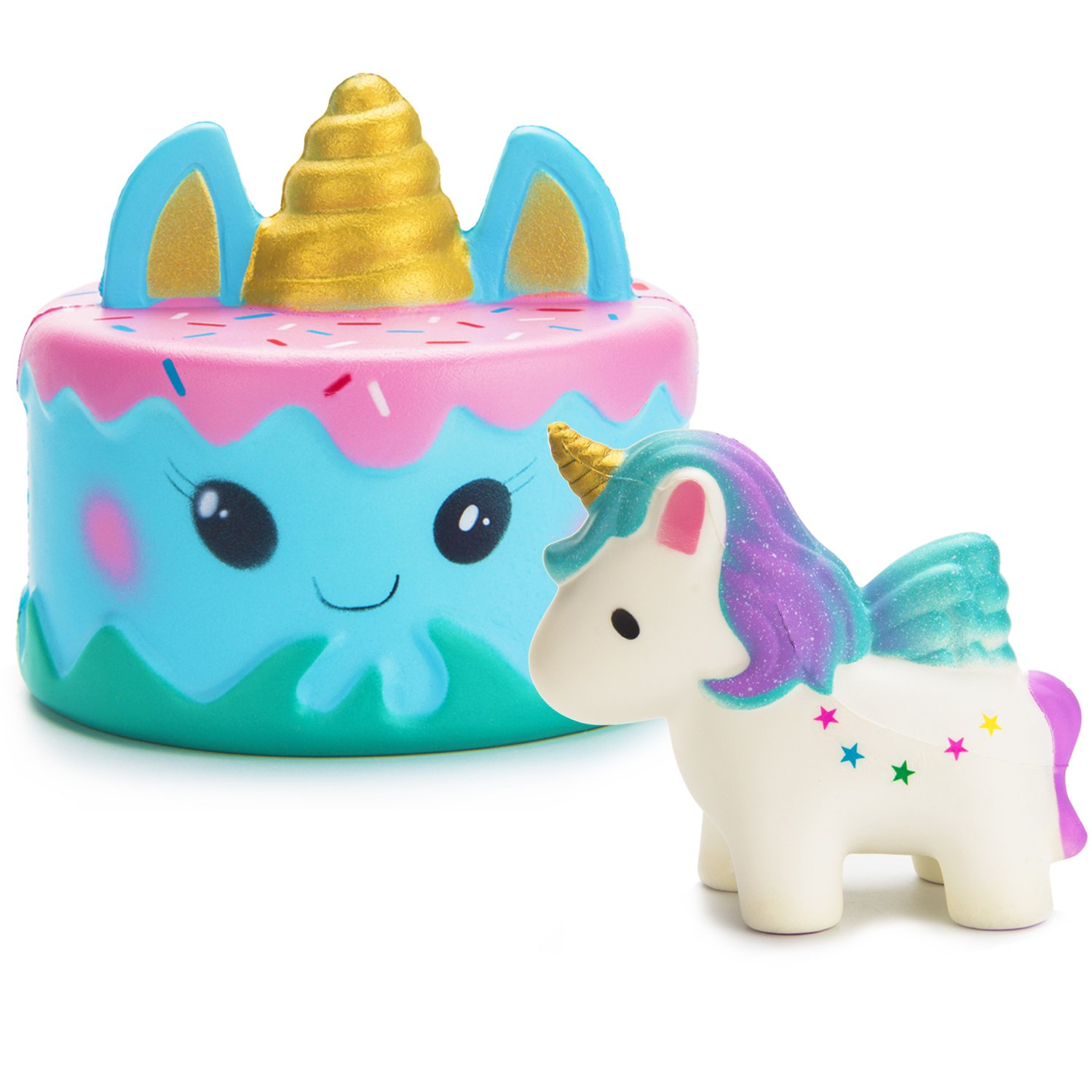 R.Horse Jumbo Squishy Kawaii Cute Unicorn Mousse Cream Scented Squishies Slow Rising Kids Toys Doll Stress Relief Toy Hop Props, Decorative Props Large (2 Pack)