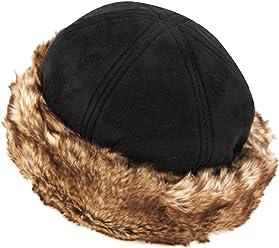 CL2192 Faux Leather With Faux Fur Trimmed Winter Fashion Hat 69e08afd958c