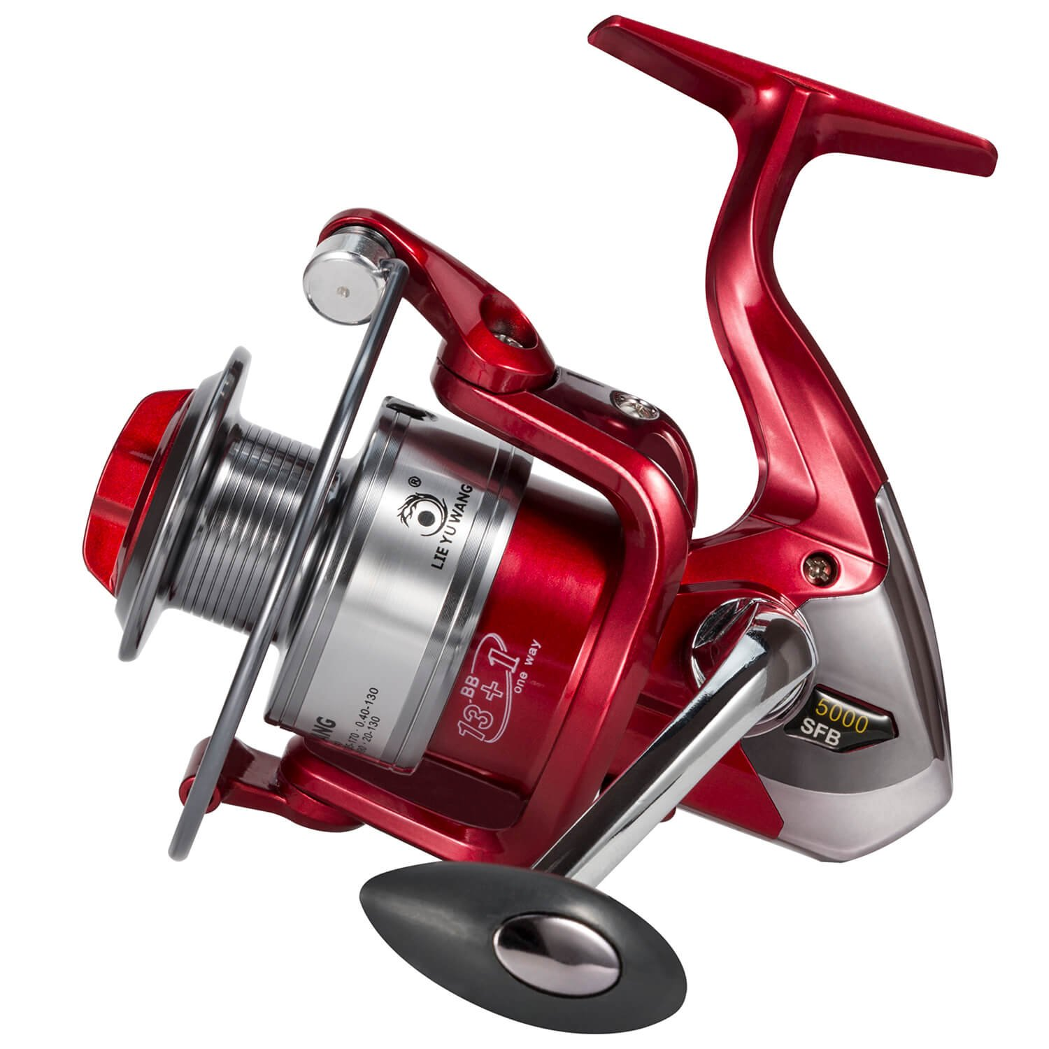 Spining Fishing Reel 13 1BB Ultra Smooth Spinning Reels 3000 4000 5000, Left Right Interchangeable Handle for Freshwater Saltwater Boat Bass Fishing Red
