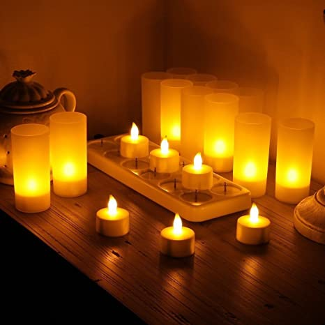 Search For Flights 12pcs/set Remote Controlled Led Candles Flickering Frosted Rechargeable Tea Lights/electronics Candle Lamp Wedding Pary Light Lights & Lighting