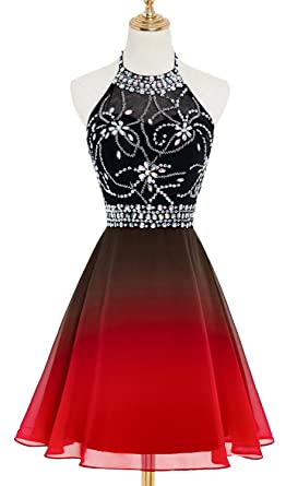 HEAR Womens Ombre Halter Crystals Prom Gown Short Gradient Backless Chiffon Cocktail Dresses Hear193 Black$